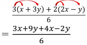 (3x+9y+4x-2y)/6