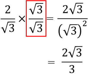 2/√3×√3/√3=2√3/(√3)²=2√3/3