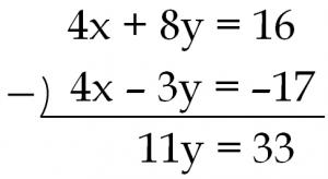 4x+8y=16と4x-3y=-17のひき算