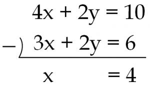 4x+2y=10と3x+2y=6のひき算