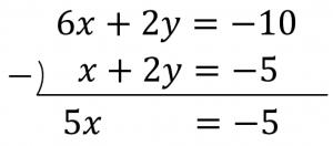 6x+2y=-10とx+2y=-5のひき算