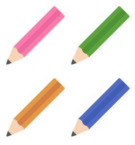 4本の鉛筆が描かれたイラスト