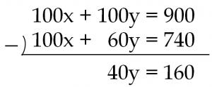 """""""100x+100y=900""""と""""100x+60y=740""""の筆算のひき算をすると""""40y=160"""""""
