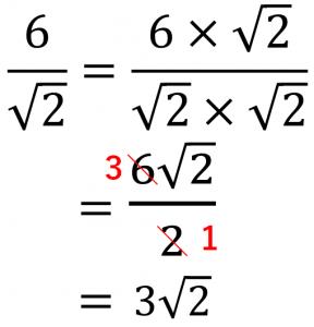 6/√2=6×√2/√2×√2=6√2/2=3√2