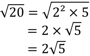 √20=√2²×5=2×√5=2√5