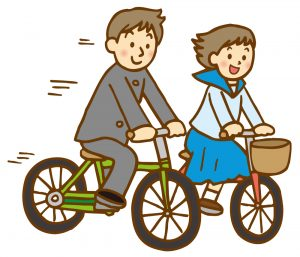 自転車通学をしている中学生のイラスト