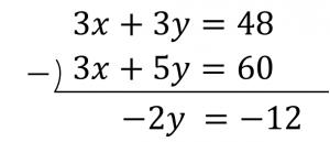 3x+3y=48と3x+5y=60のひき算の筆算の結果は-2y=-12