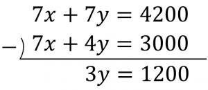 7x+7y=4200と7x+4y=3000のひき算結果が、3y=1200