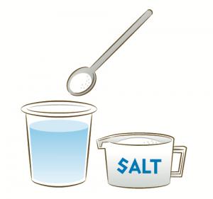 食塩水をつくっているイラスト