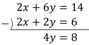 2x+6y=14と2x+2y=6のひき算の筆算の結果は4y=8