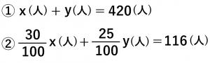 ①x(人)+y(人)=420(人) ②30/100x(人)+25/100y(人)=116(人)