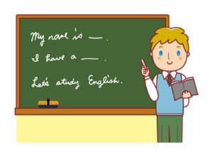 黒板で英語を授業している教師のイラスト