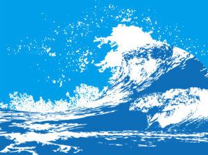 大型の波のイラスト